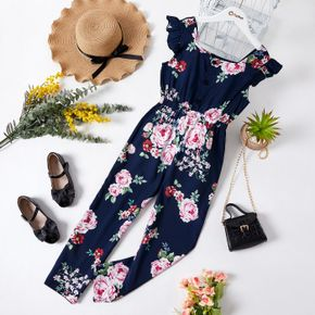 Fashionable Kid Girl Floral Rose Print Flounced Jumpsuits