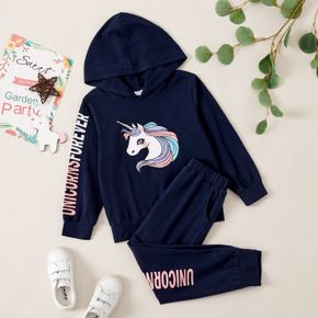Unicorn Print Hooded Sweatshirt and Letter Pants Set for Toddlers/Kids