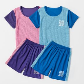 Color Block Short-sleeve and Shorts Mesh Set for Toddlers / Kids