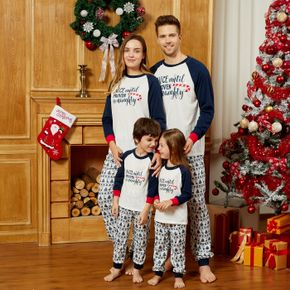 Mosaic Christmas Letter and Deer Print Family Matching Pajamas Sets (Flame Resistant)