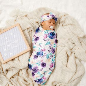 New Style Floral Print Soft Swaddle ,Headband and Hat Three-piece