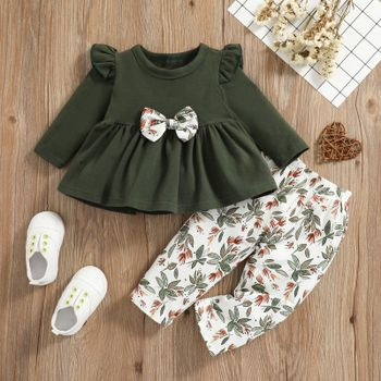 2pcs Baby Dark Green Cotton Long-sleeve Bowknot Top and All Over Leaves Print Trousers Set