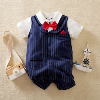 100% Cotton 100% Cotton Baby Gentleman Bow Tie Lapel Short-sleeve Navy Striped Faux-two Romper