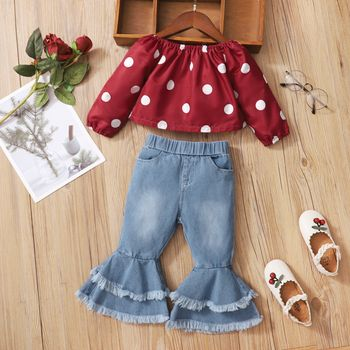 Baby 2pcs Polka Dots Red Off Shoulder Long-sleeve Top and Flare Jeans Set