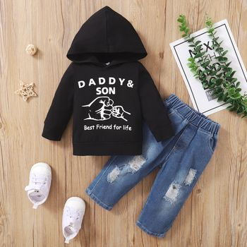 2pcs Baby Letter Print Cotton Long-sleeve Hoodie and Ripped Denim Jeans Set