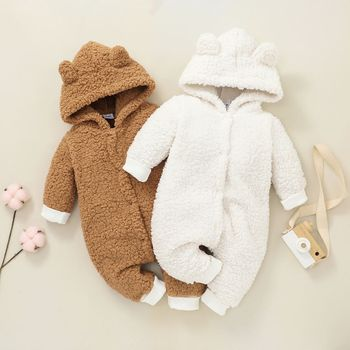 Baby Solid Thickened Fleece 3D Ears Hooded Long-sleeve Jumpsuit Snowsuit