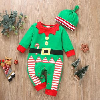 2-piece Baby Girl Christmas Striped Colorblock Long-sleeve Jumpsuit and Knotted Cap Set