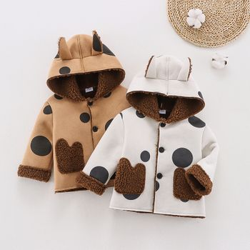 Baby All Over Polka Dots 3D Ears Hooded Long-sleeve Thickened Fleece Lined Suede Coat