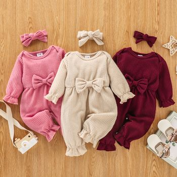 100% Cotton 2pcs Baby Solid Ribbed Long-sleeve Bowknot Ruffle Jumpsuit Set
