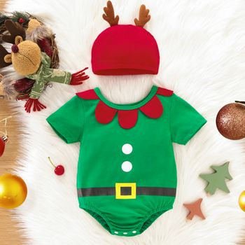 Christmas 100% Cotton 2pcs Baby Elf Outfits Green Short-sleeve Romper Set