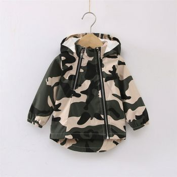 100% Cotton All Over Camouflage Baby Long-sleeve Hooded Zip Jacket