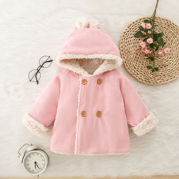 100% Cotton Baby Pink Thickened Fleece Lined Long-sleeve Hooded Double Breasted Outwear