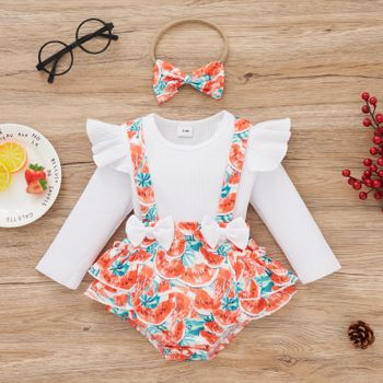 2-piece Baby Girl Ruffled Bowknot Watermelon Print Long-sleeve Faux-two Romper and Headband Set