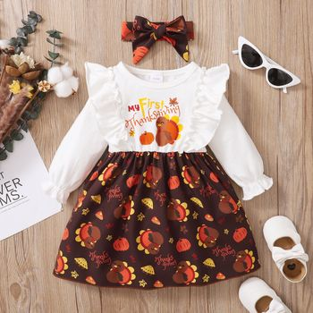Thanksgiving Day 2pcs Baby Turkey and Letter Print Cotton Long-sleeve Ruffle Splicing Dress Set