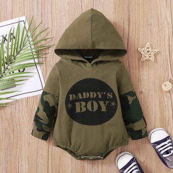Baby Letter Print Army Green Camouflage Long-sleeve Hooded Romper
