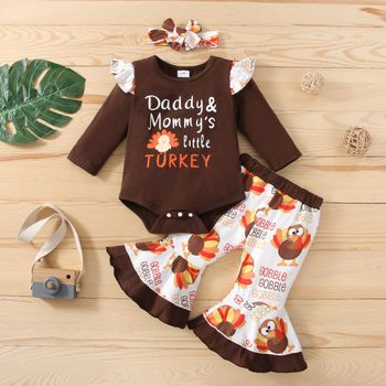 Thanksgiving Day 3pcs Baby Turkey and Letter Print Cotton Long-sleeve Romper and Bell Bottom Pants Set