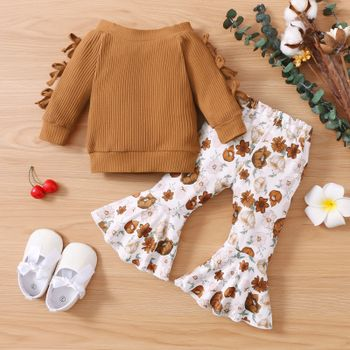 2pcs Baby Solid Ribbed Off Shoulder Bowknot Long-sleeve Top and Floral Print Bell Bottom Pants Set