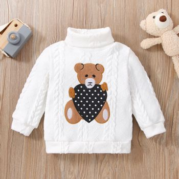 Baby Girl/Boy Turtleneck Bear Embroidered Cable Knit Sweater