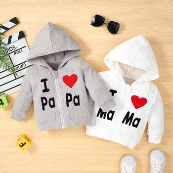 Baby Girl/Boy Letter Heart Embroidered Cable Knit Textured Hooded Jacket