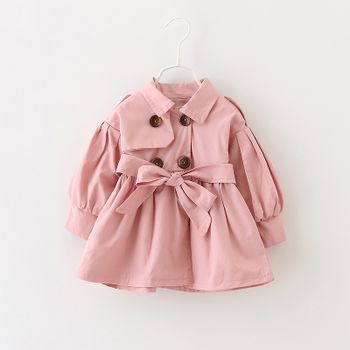 Solid Lapel Collar Double Breasted Long-sleeve Baby Coat Jacket