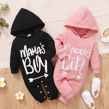 Baby Letter Print Solid Long-sleeve Hooded Waffle Jumpsuit