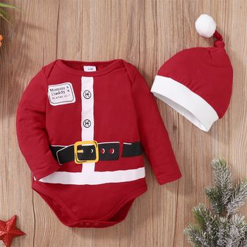 Christmas 2pcs Baby Red Long-sleeve Romper Santa Outsuits Set