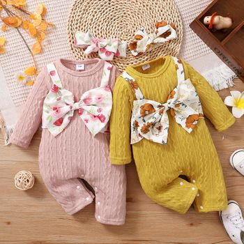 2-piece Baby Girl Floral Print Bowknot Design Cable Knit Textured Long-sleeve Jumpsuit and Headband Set