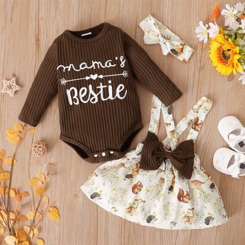 3-piece Baby Girl Letter Print Ribbed Long-sleeve Romper, Floral Print Bowknot Design Suspender Skirt and Headband Set