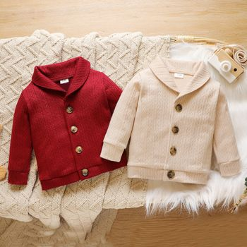 Baby Solid Lapel Button Down Long-sleeve Outwear