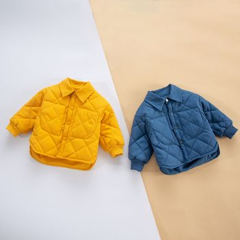 Baby Solid Thickened Lined Lapel Long-sleeve Quilted Outwear Jacket