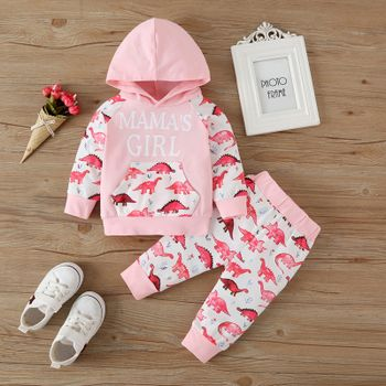 2pcs Baby Girl Letter and Dinosaur Print Pink Long-sleeve Hoodie and Trousers Set