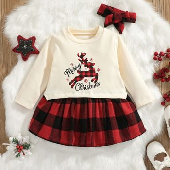 Christmas 2pcs Baby Reindeer and Letter Print Long-sleeve Red Plaid Dress Set