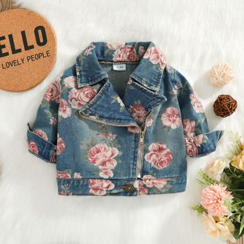 100% Cotton Baby All Over Floral Print Lapel Long-sleeve Zip Denim Jacket