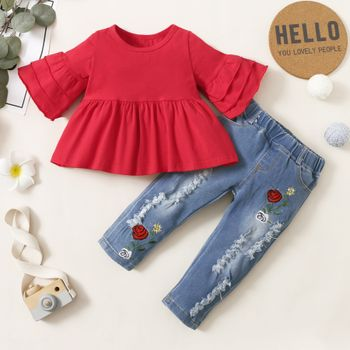 2pcs Baby Red Bell Sleeve Loose-fit Top and Floral Embroidered Ripped Denim Jeans Set