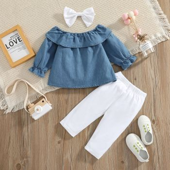 3pcs Baby Long-sleeve Ruffle Denim Top and 100% Cotton Trousers Set