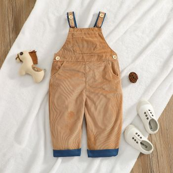 Baby Solid Corduroy Sleeveless Overalls with Pockets