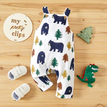 Baby Boy All Over Animal Bear and Tree Print Sleeveless Overalls Jumpsuit