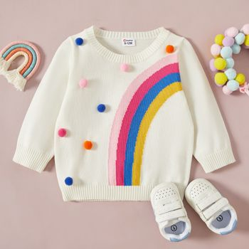 Baby Girl Rainbow Pattern Pom Poms White Long-sleeve Knitted Sweater