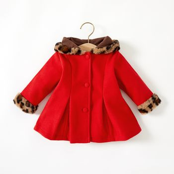 Baby Red Long-sleeve Button Down Leopard Hooded Wool Blend Coat