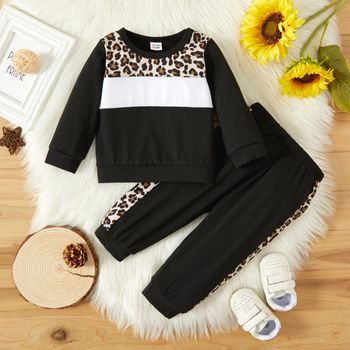 2pcs Baby Girl Leopard Splicing Color Block Long-sleeve Sweatshirts and Trousers Set