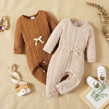 Baby Girl Solid Cable Knit Long-sleeve Snap-up Jumpsuit