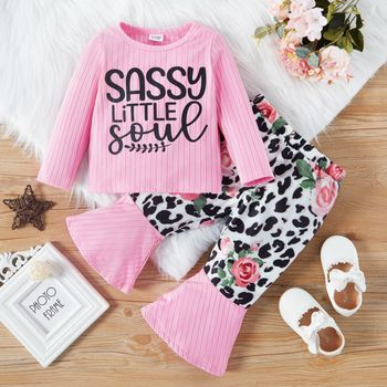 2pcs Baby Girl Letter Print Pink Long-sleeve Ribbed Top with Leopard and Floral Print Bell Bottom Pants Set