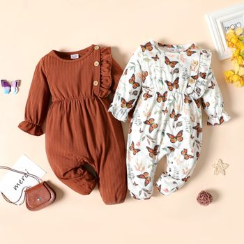 Baby Girl Brown/White Butterfly Print Long-sleeve Ruffle Jumpsuit
