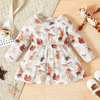 Baby Girl All Over Forest Animals Print Long-sleeve Dress