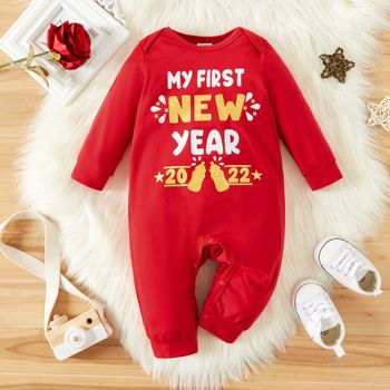 New Year Letter and Number Print Red Baby/Girl Long-sleeve Jumpsuit