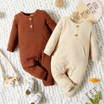 Baby Boy Solid Ribbed Long-sleeve Jumpsuit with Pocket