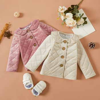 Baby Solid Ruffle Collar Long-sleeve Thickened Quilted Outwear