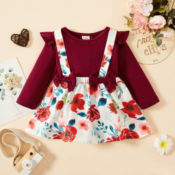 2pcs Baby Girl Solid Long-sleeve Romper and Floral Print Suspender Skirt Set