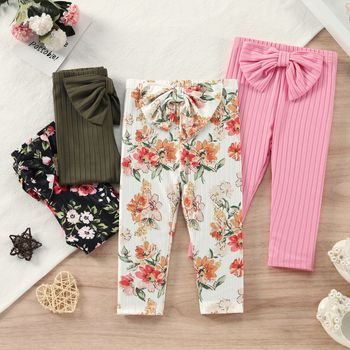 Baby Girl Solid/Floral Print Ribbed Bowknot Leggings