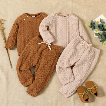 Baby Boy/Girl Solid Long-sleeve Top and Trousers Set